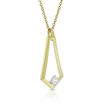 Jade Trau for Signature Forevermark Diamond Open Sheild Necklace 18K