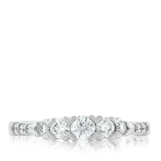 Diamond Ring with Chevron Setting 14K