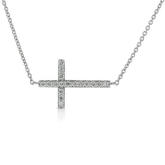 Diamond Sideways Cross  14K