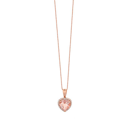 Rose Gold Morganite & Diamond Heart Pendant 14K