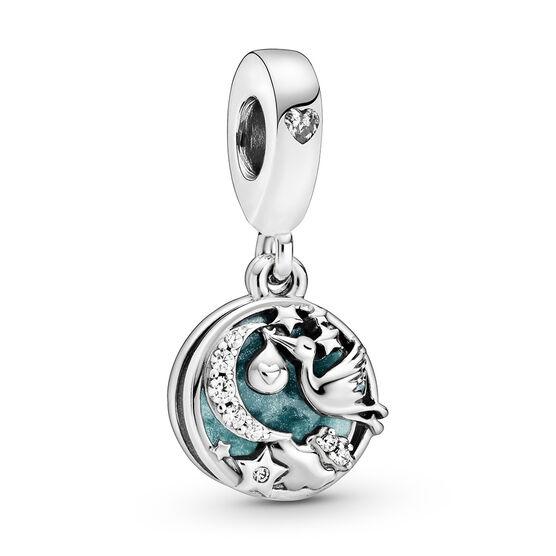 Pandora Stork & Twinkling Stars Enamel & CZ Dangle Charm