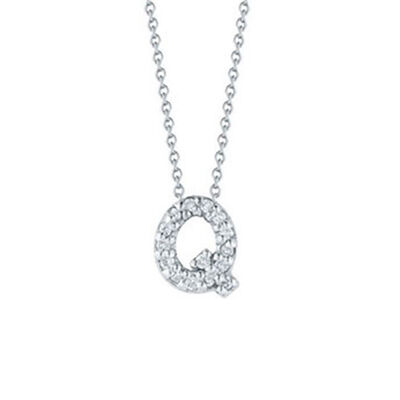 Roberto Coin Tiny Treasures Diamond Initial Pendant 18K Letter 'Q'