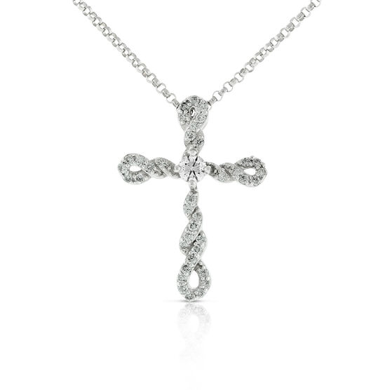 Ikuma Canadian Diamond Twisted Cross Pendant 14K