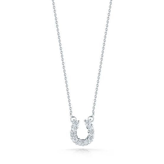 Roberto Coin Tiny Treasures Diamond Horseshoe Necklace 18K
