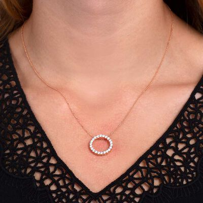 Rose Gold Diamond Circle Pendant 14K, 1 ctw.
