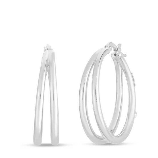 Roberto Coin Oro Classic Graduated Double Hoop Earrings 18K