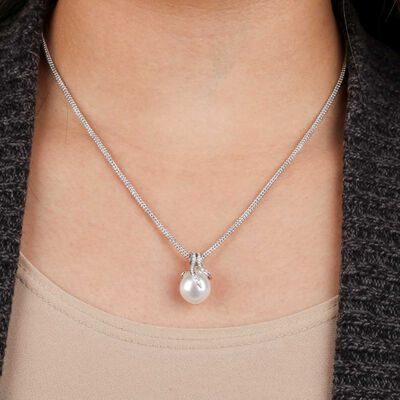 Cultured South Sea Pearl & Diamond Pendant 14K