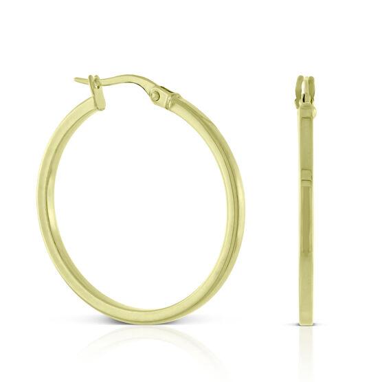 Square Tube Hoop Earrings 14K