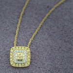Yellow & White Diamond Double Halo Pendant 14K