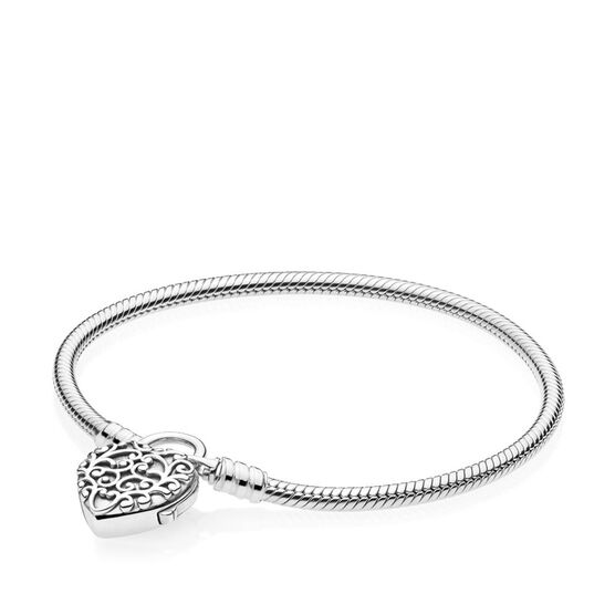 Pandora Smooth Silver Padlock, Regal Heart Bracelet