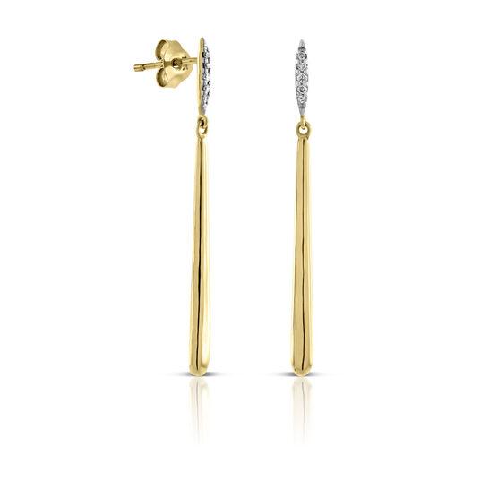Diamond Bar Drop Earrings 14K