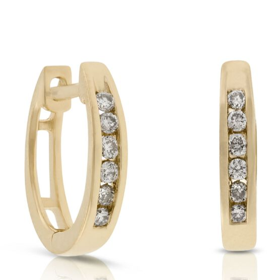 Diamond Hoop Earrings 14K, 1/10 ctw.