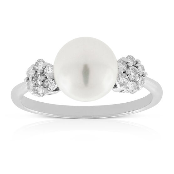 Cultured Freshwater Button Pearl Ring 14K