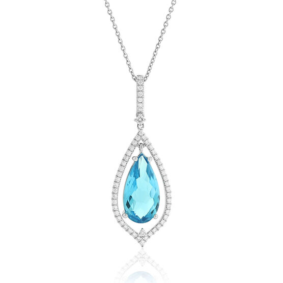 Pear Shaped Blue Topaz & Diamond Necklace 14K