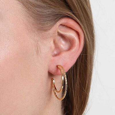 Twisted Double Hoop Earrings 14K