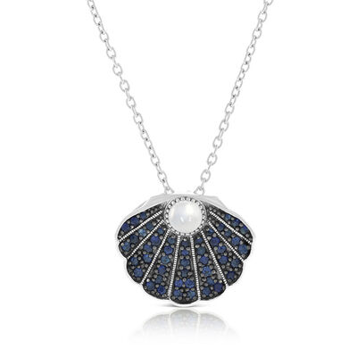 Lisa Bridge Sapphire & Moonstone Clam Shell Necklace