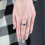 Sapphire & Diamonds Flower Ring 14K