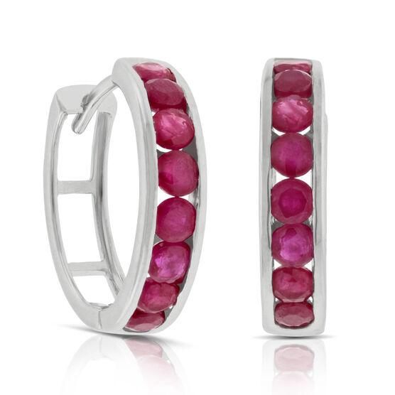 Round Ruby Hoop Earrings 14K