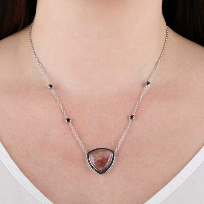Lisa Bridge Rhodochrosite & Black Sapphire Necklace