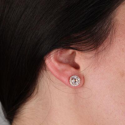Rose Gold Morganite & Diamond Earrings 14K