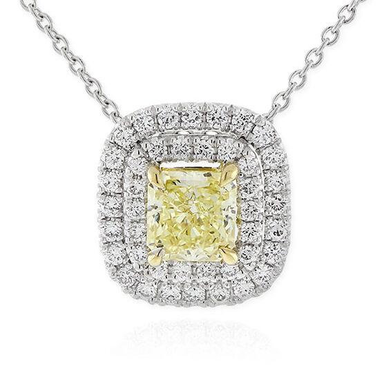 Radiant Cut Yellow Diamond Halo Pendant 18K