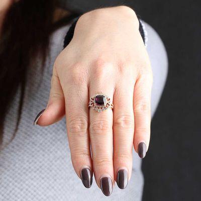 Rose Gold Cushion Rhodolite Garnet & Diamond Ring 14K