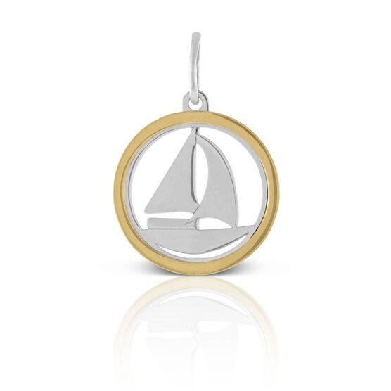 Sailboat Framed Charm / Pendant, Silver & 14K