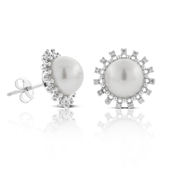 Cultured Freshwater Pearl & Diamond Earrings 14K