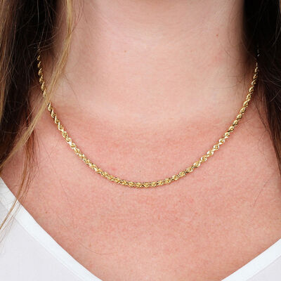 Diamond Cut Rope Chain 14K, 18""