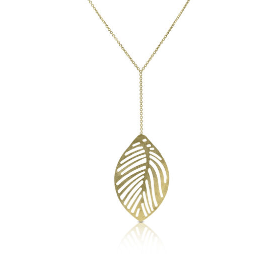 Leaf Lariat Necklace 14K