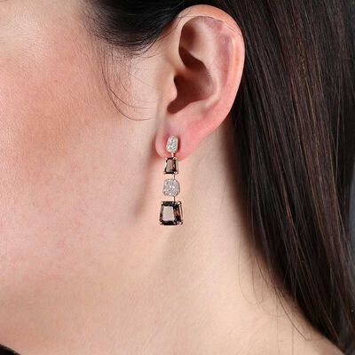 Rose Gold Smoky Quartz & Diamond Earrings 14K