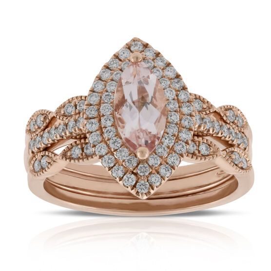 Rose Gold Morganite & Diamond Bridal Set 14K