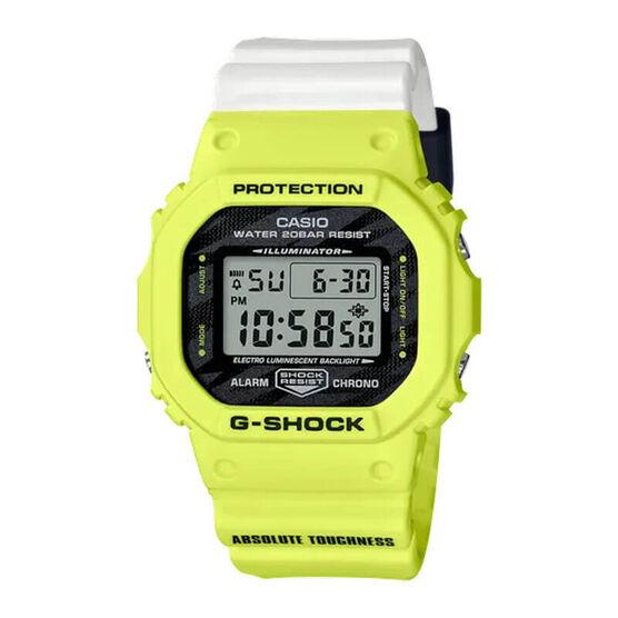 G-Shock Yellow & White Rectangular Digital Watch, 48.9mm