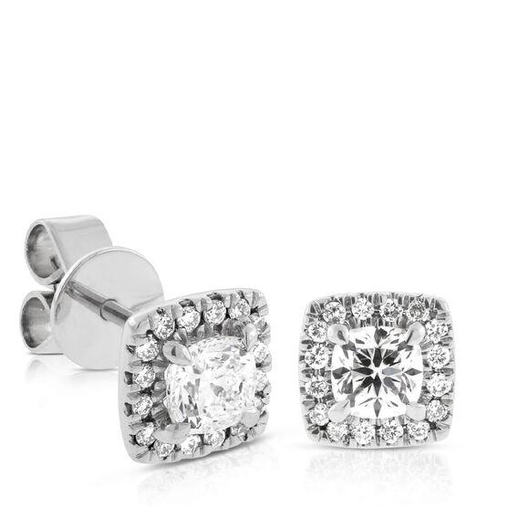 Signature Forevermark Cushion Cut Diamond Halo Earrings 18K, 1 ctw.