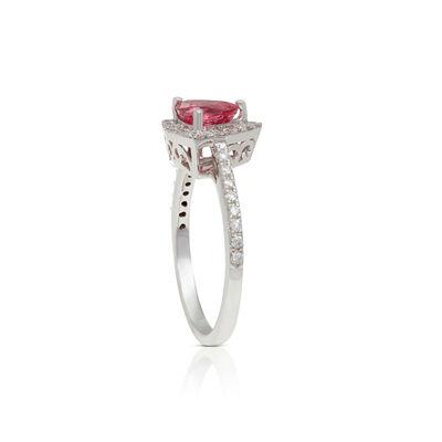 Trillion Pink Spinel & Diamond Ring 14K