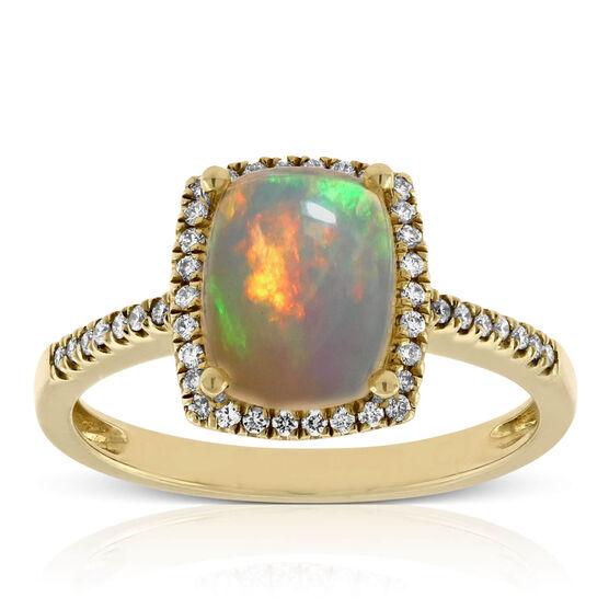 Cushion Opal & Diamond Ring 14K