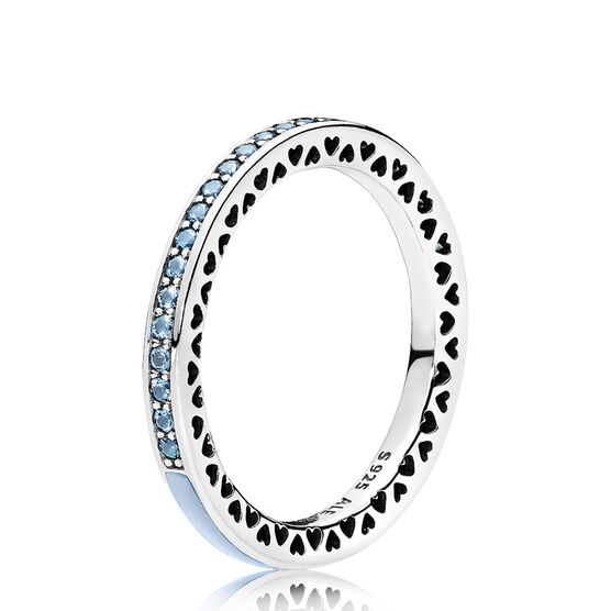 Radiant Hearts of PANDORA Ring, Air Blue Enamel