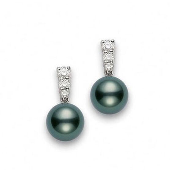 Mikimoto Tahitian Cultured Pearl & Diamond Earrings