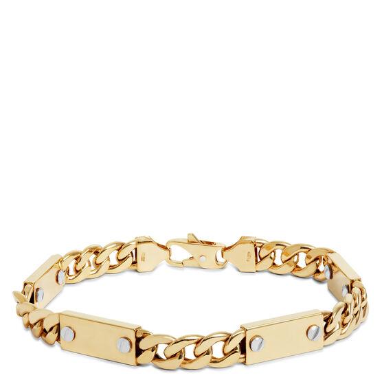 "Toscano Plaque With Screws Curb Chain Bracelet 14K, 8.5"""