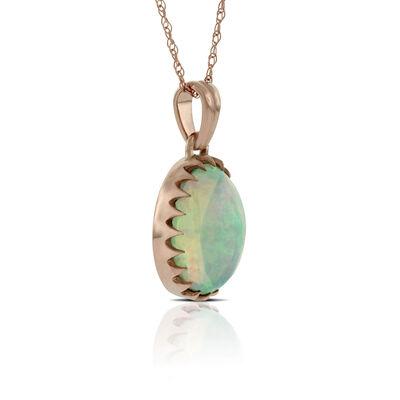 Rose Gold Opal Pendant 14K