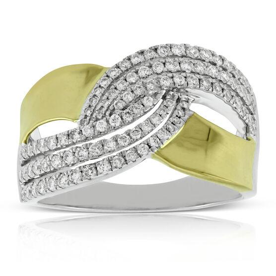 Diamond Crossover Ring 14K