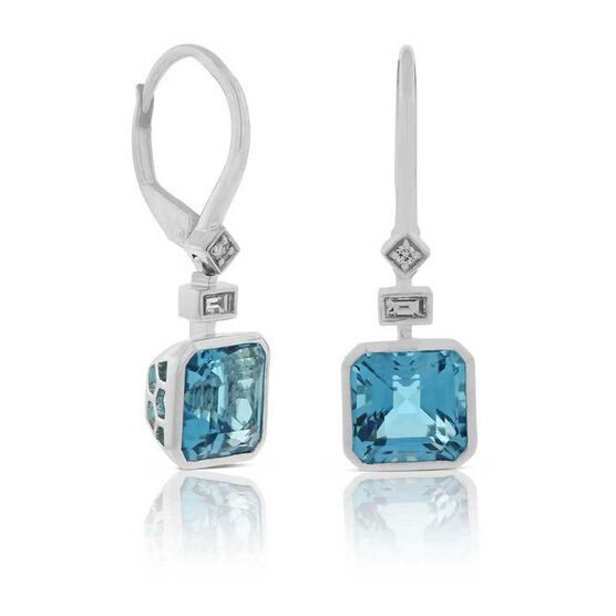 Square Blue Topaz & Diamond Earrings 14K