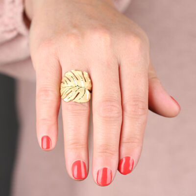 Toscano Palm Leaf Ring 14K