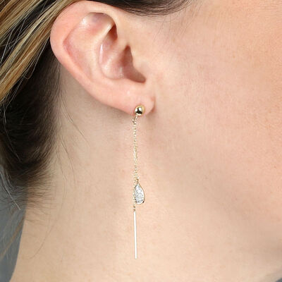 Diamond Pavé Pear & Gold Bar Drop Earrings 14K