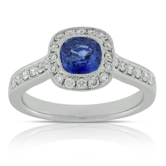Cushion Sapphire & Diamond Ring 18K