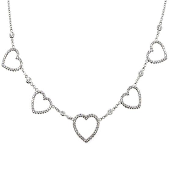 Hearts Diamond Necklace 14K