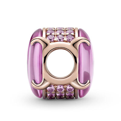 Pandora Pink Oval Cabochon Synthetic Sapphire & Crystal Charm