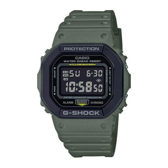 G-Shock Green Strap Digital Rectangular Watch, 48.9mm