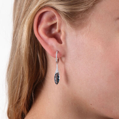 Marquise Blue Topaz & Diamond Drop Earrings 14K