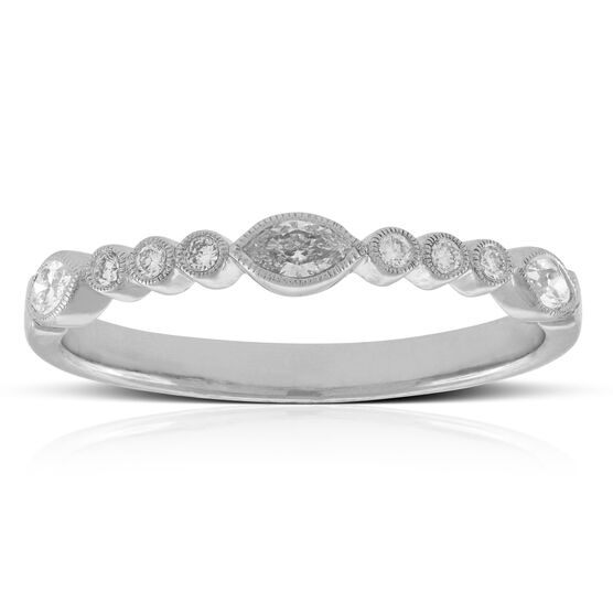 Marquise & Round Cut Diamond Band 14K
